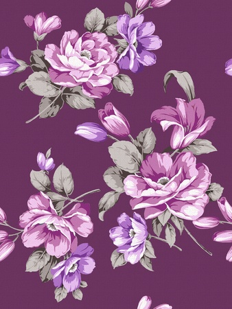 winter flower: Seamless floral background. For easy making seamless pattern use it for filling any contours.  Stock Photo