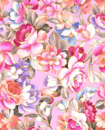 sateen: Seamless tulip background pattern.  Stock Photo