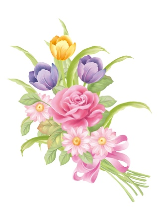 아름 다운 튤립 꽃다발 장식 그림