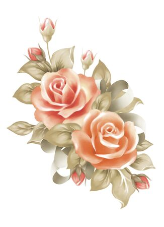 illustration with beautiful  rose bouquet decoration  Imagens