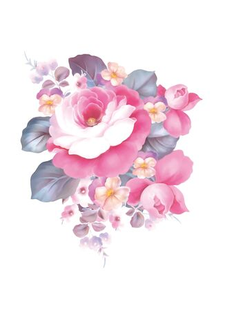 pink rose petals: illustration with beautiful pink rose bouquet decoration  Stock Photo