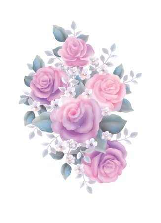 illustration with beautiful pink rose bouquet decoration  illustration