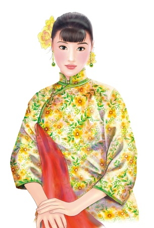 shanghai china: 3D drawing- 1930s old style chinese woman 058