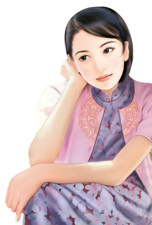 3D drawing- 1930s old style chinese woman 056 photo