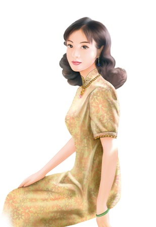 traditional clothes: 3D drawing- 1930s old style chinese woman 055
