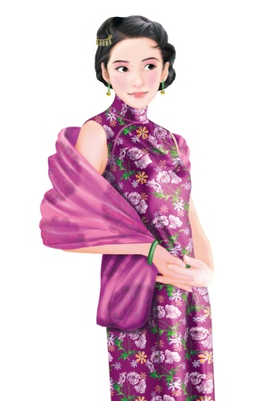 asian: 3D drawing- 1930s old style chinese woman 054 Stock Photo