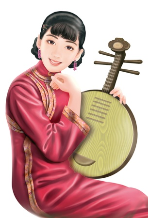 traditional clothes: 3D drawing- 1930s old style chinese woman 053