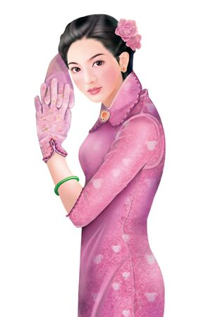 shanghai china: 3D drawing- 1930s old style chinese woman 050
