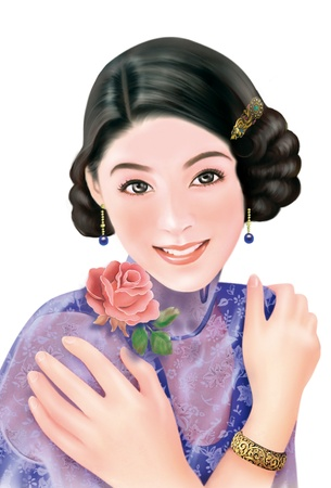 ancient tradition: 3D drawing- 1930s old style chinese woman 048