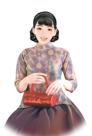 traditional clothing: 3D drawing- 1930s old style chinese woman 036 Stock Photo