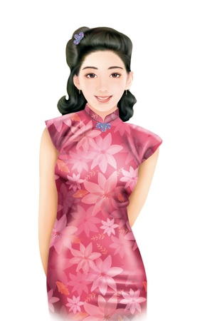 3D drawing- 1930s old style chinese woman 032