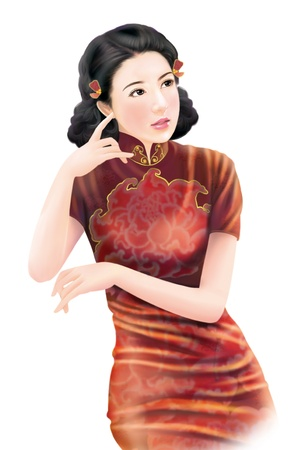 3D drawing- 1930s old style chinese woman 030