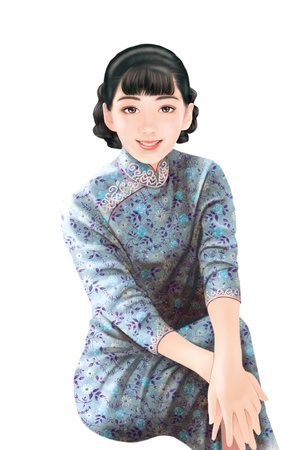 shanghai china: 3D drawing- 1930s old style chinese woman 029