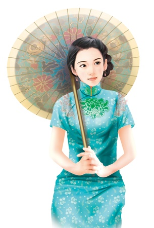 tradition traditional: 3D drawing- 1930s old style chinese woman 022
