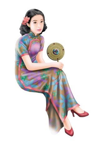3D drawing- 1930s old style chinese woman 011 Stock Photo