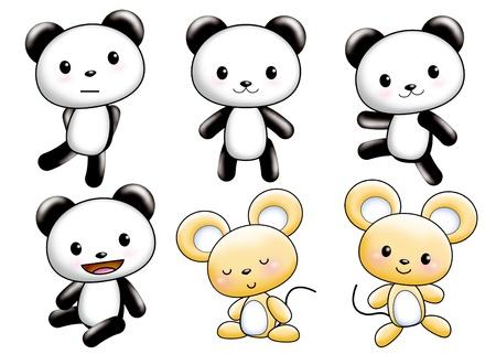 Cute cartoon design elements set - panda,mouse