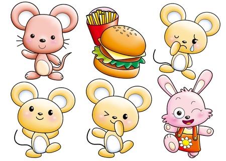 animal: Cute cartoon design elements set -mouse