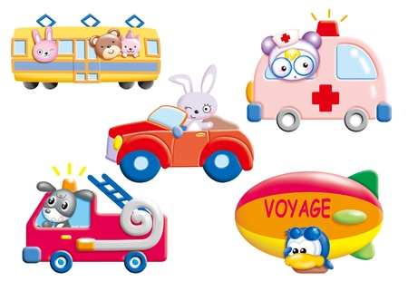 Cute cartoon design elements set -vehicle Stock Photo - 9003076