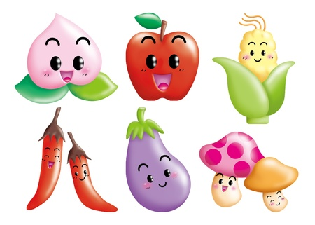 Cute cartoon design elements set -fruit, vegetable Stock Photo - 9003069