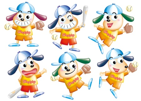 Cute cartoon design elements set - DOG, sport photo
