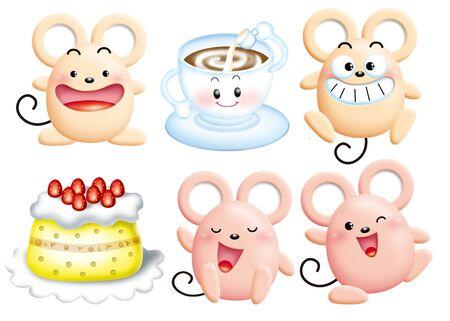 Cute cartoon design elements set - mouse photo