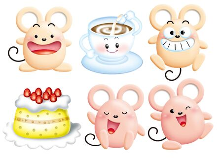 Cute cartoon design elements set - mouse Stock Photo - 9003073