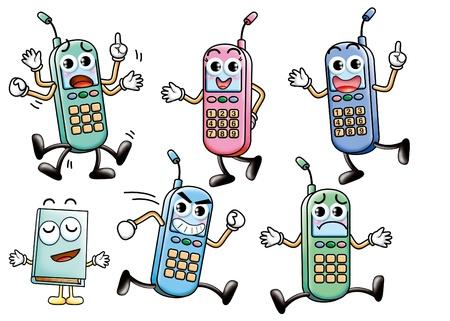 Cute cartoon design elements set - cellphone photo