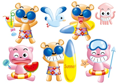 Cute cartoon design elements set - summer  beach Stock Photo - 9003094