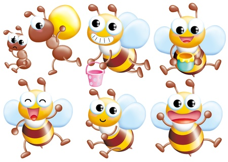 Cute cartoon design elements set - bee Stock Photo - 9003086