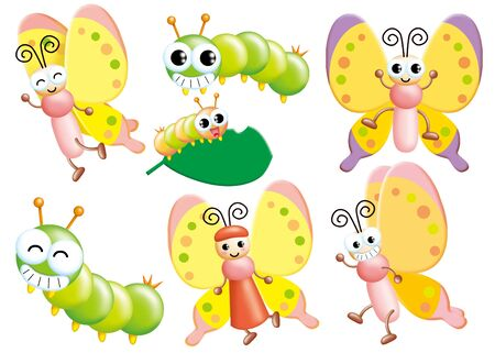 Cute cartoon design elements set - butterfly Фото со стока