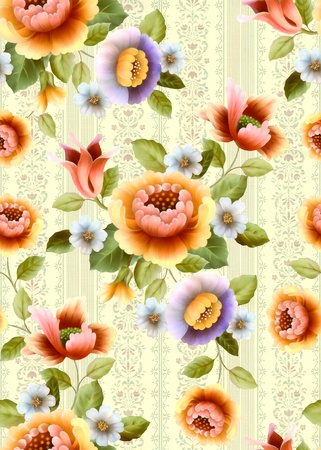upholstery: seamless floral background design pattern - classical style