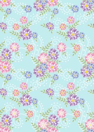 blue background flower seamless pattern  photo