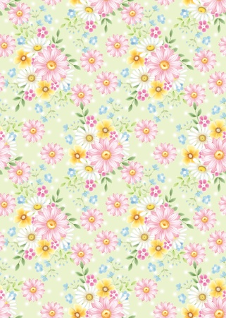 classics: seamless floral background design pattern - spring style  Stock Photo