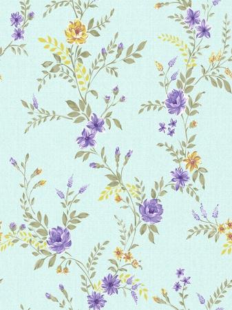 floral background , blue seamless design pattern  photo