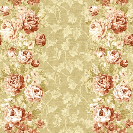 seamless rose with gold background design pattern - classical style  photo