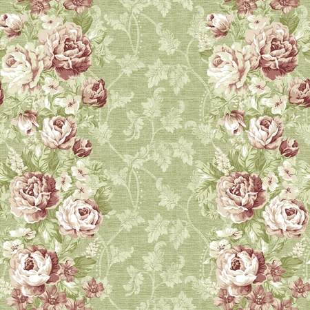 seamless rose with green background design pattern - classical style  Stock Photo