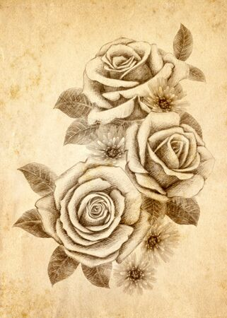 freehand: Old-styled rose. Freehand drawin-02