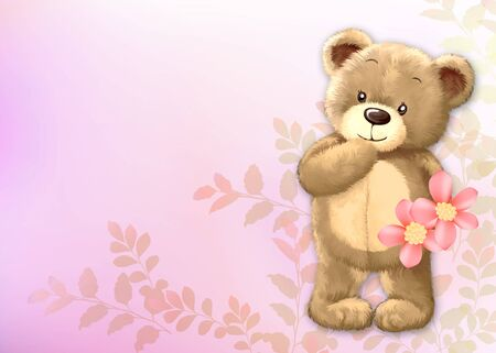 cute teddy bear by Freehand drawing-01 Stock Photo - 9530376