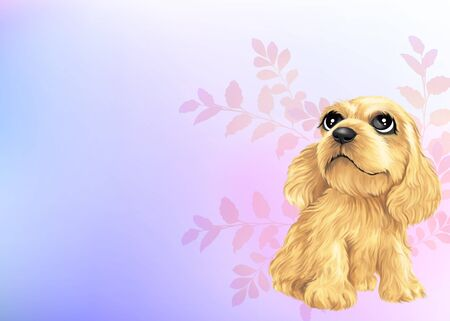 soft toy: Young puppy by Freehand drawing-03 Stock Photo