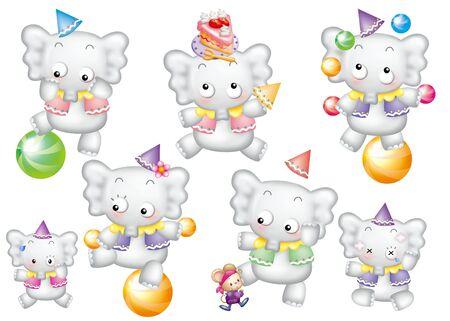 Cute cartoon design elements set - elephant Stock Photo - 9530381
