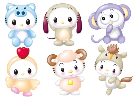 Cute cartoon design elements set - animal