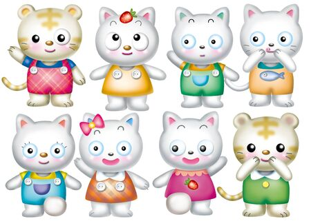 Cute cartoon design elements set - cat Stock Photo - 9530395