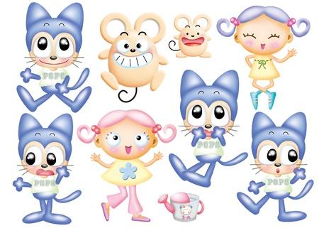 Cute cartoon design elements set photo