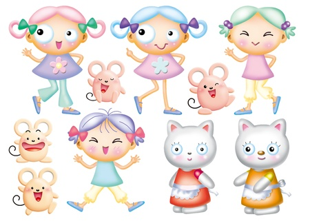 Cute cartoon design elements set -gir photo