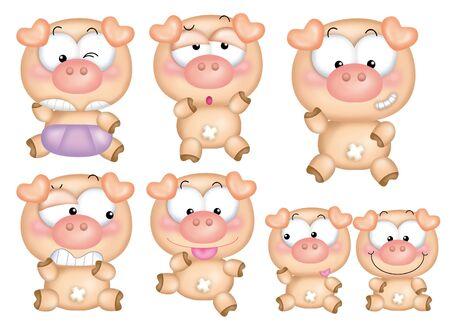 Cute cartoon design elements set - pig photo