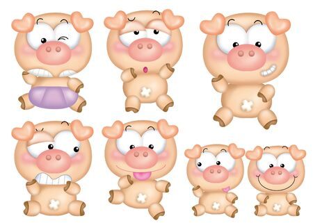 Cute cartoon design elements set - pig photo