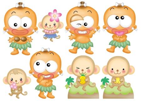 Cute cartoon design elements set - kid,monkey photo
