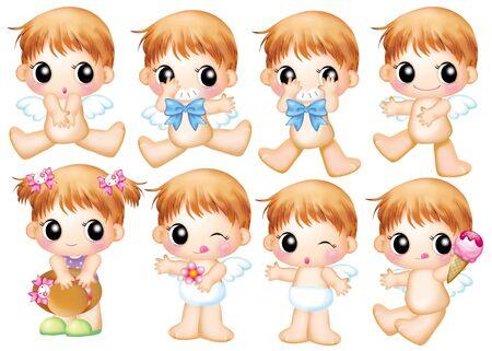 pattern monster: Cute cartoon design elements set - angel