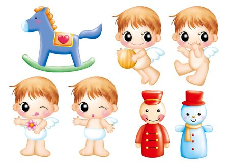 Cute cartoon design elements set - angel photo