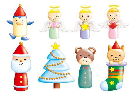 Cute cartoon design elements set - Christmas toy photo
